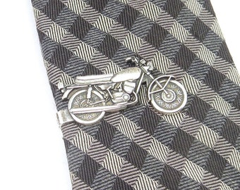 Motorcycle Tie Clip- Vintage Motorcycle Tie Bar- Vintage Style- Sterling Silver Or Antiqued Brass Finish