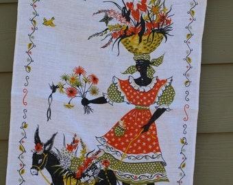 Vintage linen tea towel dish towel Caribbean West Indies Woman with basket donkey / mule -artist Rhoda Jackson? Dunmoy Irish linen