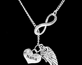 Nana Angel Necklace, Infinity Guardian Angel Wing Nana Grandmother Grandma In Heaven Memory Y Lariat Necklace
