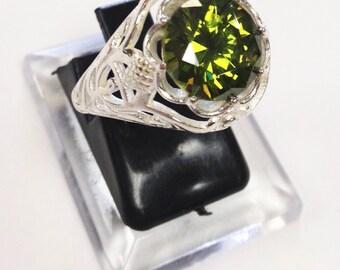Art Deco Filigree Edwardian Antique  Peridot Sterling Silver 925  Ring sz 8 *August Birthstone*