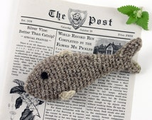 Crochet Fish Cat Toy, Wool with Catnip, Valerian or Silvervine