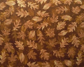 Brown Leaves Fabric, RJR 2347 Shades of Autumn, Dan Morris, Fall Quilt Fabric, Cotton Leaf Fabric, Falling Leaves
