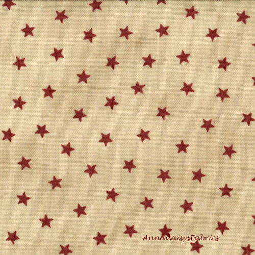 Red stars fabric moda 1074 12 primitive gathering old for Star fabric australia