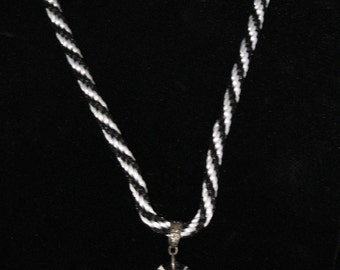 Black & White Kumihimo Necklace with Pendant 11