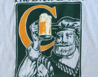 Vintage 3D Connors Microbrewery Craft Beer T-Shirt 1980s