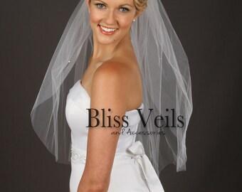 1 Tier Veil, Wedding Veil, Rhinestone Accents Veil