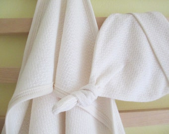 Organic Baby Blanket and hat - Pointelle knit, natural,  swaddle blanket, newborn, baby shower gift