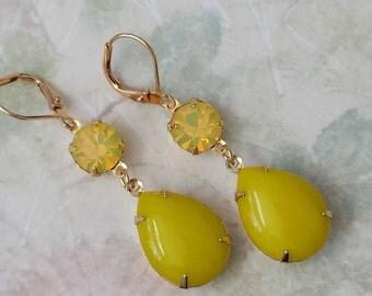 Chartreuse Rhinestone Earrings Double Drop Rhinestone Earrings Chartreuse Rhinestone Earrings Yellow Teardrop Earrings Old Hollywood Glam