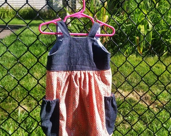 Bubble pocket jumper dress with adjustable straps 12 months to 3T
