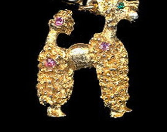 """Vintage 1 1/2"""" Poodle Pendant with Glass Eye"""