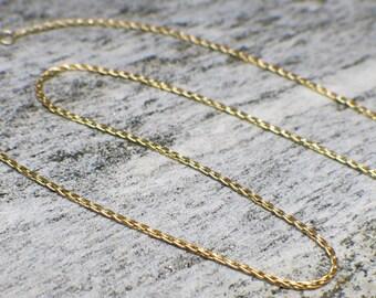 14K Yellow Gold Vintage Round Parisian Wheat Chain Necklace