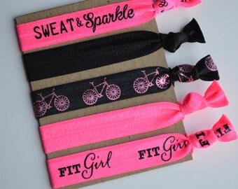 Set of 5 Elastic Hair Ties - Fitness Hair Ties - Yoga Hair Ties - Workout Hair Ties - Creaseless Hair TIes - Boho Bracelet Hair Ties