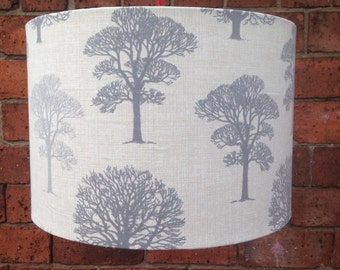 Trees in Grey Drum Shaped LampShade. LARGE SHADE up to 45cm
