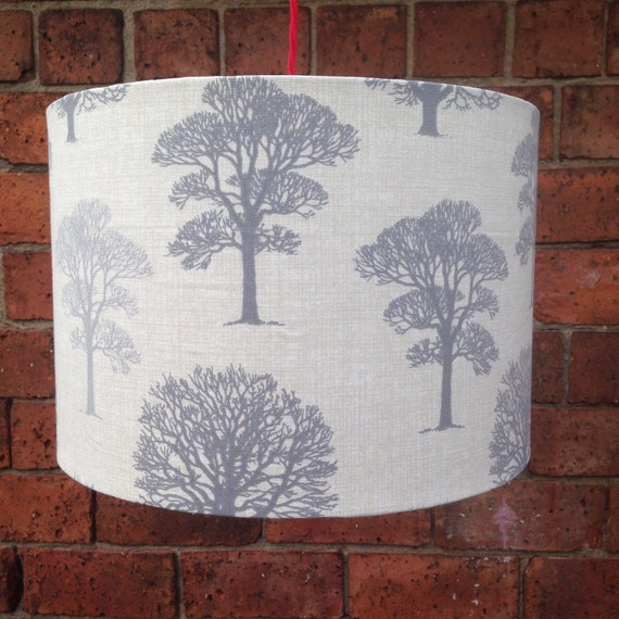 Trees In Grey Drum Shaped Lampshade Large Shade Up To 45cm