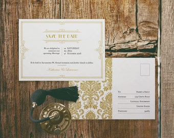 Printable Wedding Save the Date Postcard Template in Gatsby 1920s Gold