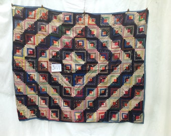 Log Cabin Quilt, Silk, c. 1870 , Made in PA.  # 3111