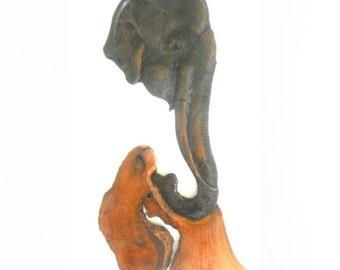 Teak Wood Carving Of Three Elephants Family Natural Art Hand