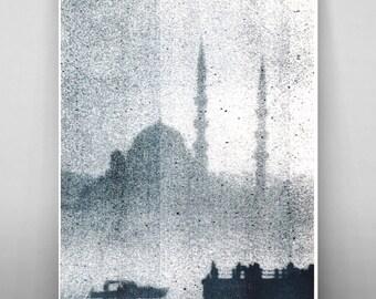 "Foggy Istanbul Silhouette, Risograph 11""x17"""
