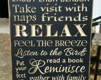 "Custom Carved Wooden Sign - ""Porch Rules, Enjoy Each Season"""