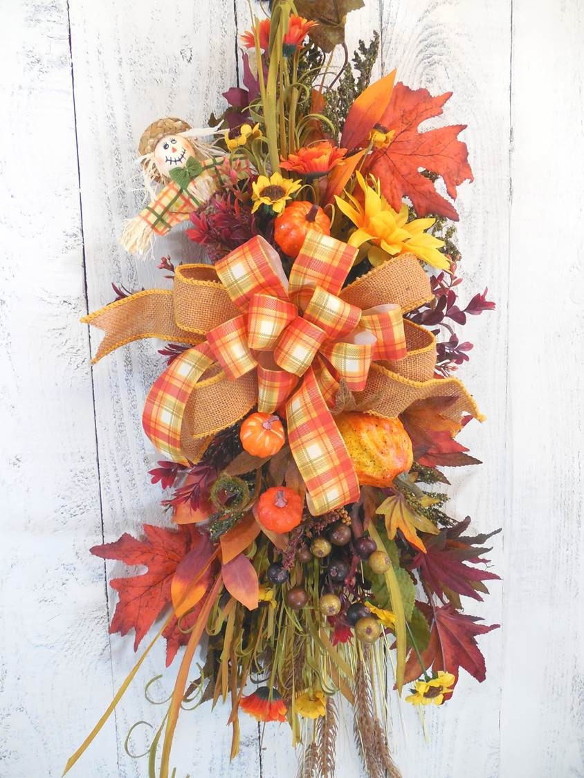 Fall door decor fall door swag fall wreaths scarecrow Fall autumn door wreaths