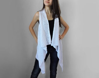 Pure cotton vest Knitted white long vest Spring summer vest Lace stitch Multi size Plus size overcoat Extra large S- XXL
