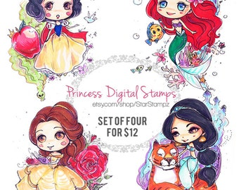 Princesses Collection DIGITAL STAMPS Line art Instant Download
