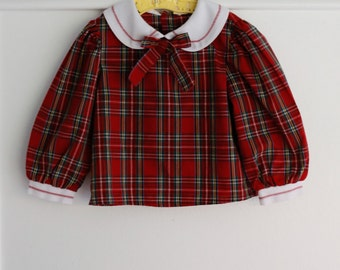Girl's 2T: Red Plaid Blouse with White Peter Pan Collar, Cuffs, and Neck Ribbon
