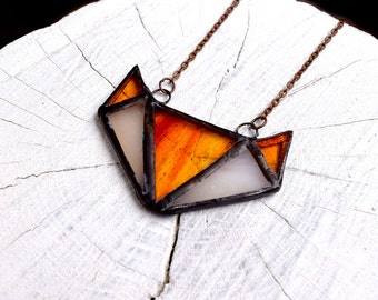 Geometric FOX pendant in Tiffany style with chain necklace