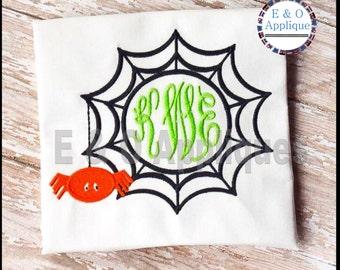 Spiderweb Monogram Embroidery Design - Halloween Embroidery Design - Spider Embroidery Design - Spiderweb Embroidery Design