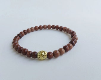 Mens bracelet - fancy bracelet - beaded bracelets - yoga bracelet - brown bracelet - stretch bracelet - reiki meditation bracelet unisex