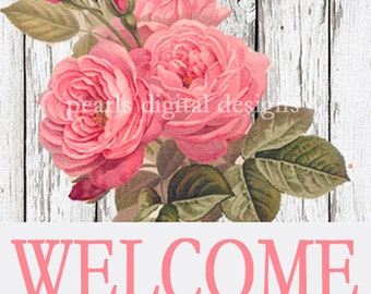 3 PC Shop small banner, shop icon and Profile, instant download, blank, Shabby Chic Rose,  white washed wood, pink roses,