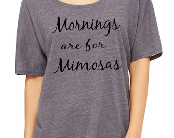 Mornings are for Mimosas Off Shoulder T-Shirt.   Slouchy LadiesTop.