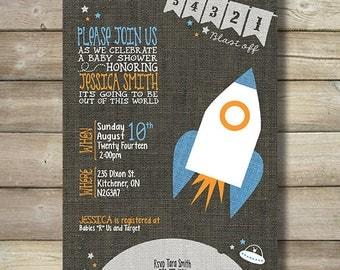 54321 Blast Off Boy Baby Shower Invitation - Rocket Ship Outer Space Moon Saucer Cute Unique Modern Gray Linen Blue Orange DIY Boy Baby