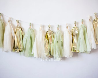 Ivory Gold Celery Green Tassel Garland, Aloe Green Garland, Pastel Green Gold Tassel Garland, Mint Garland, Succulent Green Decorations