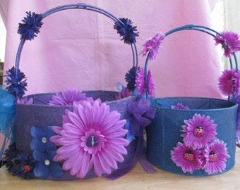 Butterfly Fairy Flower Baskets Set of 2, Fairy Wedding Flower Baskets, Vintage Butterfly Baskets, OOAK Fairy Baskets