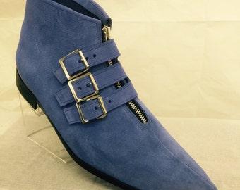 3 Buckle Winklepicker Boots in Electric Blue Suede