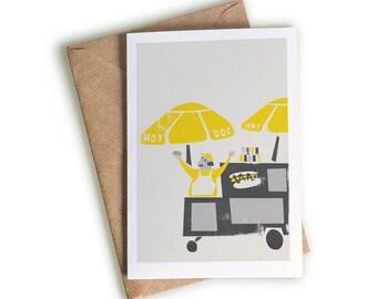 New York Hot Dog Stand Card, A6 Notecard, Illustrated Card, New York Themed Illustration, Favourite Foods, Happy Fun Artwork, Greetings Card