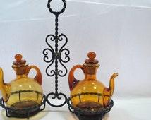 Glass Cruet Oil and Vinegar  Wrought Iron  Rack Glass Amber Teapot with Cork Stopper