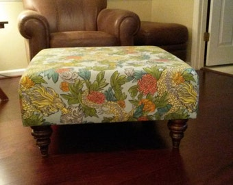 Upholstered Ottoman Coffee Table - Dragon Fabric