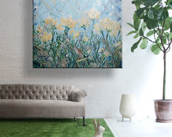 "oil painting, modern art, ""Wildflowers"", canvas art, paintings on canvas, wall art, painting, abstract painting, wall painting, art"