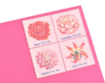 24 Pink Flowers Stamps - 18c - Rose, Camellia, Dahlia, Lily Flowers - Vintage Unused Postage - Quantity of 24