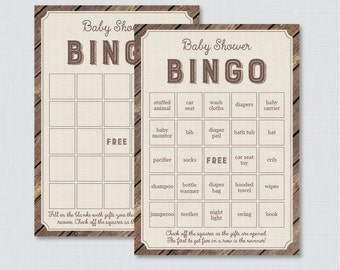 Rustic Baby Shower Bingo Cards - Printable Blank Bingo Cards AND PreFilled Cards - Rustic Wood Burlap Baby Shower Bingo Cards - 0034