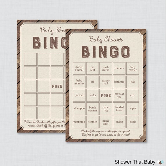 Rustic Baby Shower Bingo Cards Printable Blank Bingo Cards