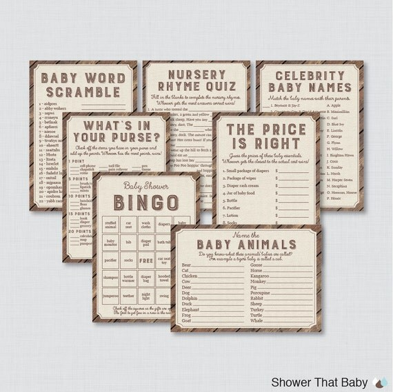 Rustic Baby Shower Games Package Seven Printable Games: