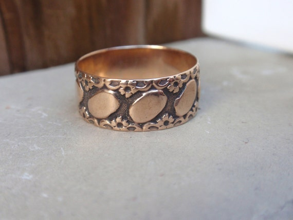 Victorian Wedding Band 10k Ring Ladies Wide Rose Yellow Gold