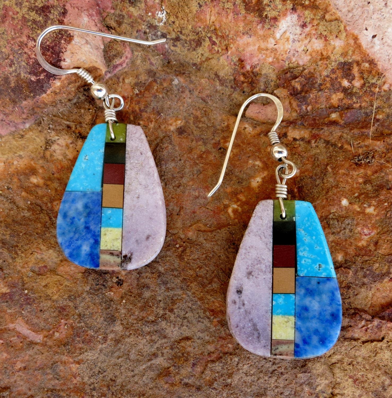Zuni Earrings: ZUNI INLAY EARRINGS Multi-Stone Dangles Turquoise Opal Jet