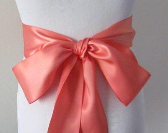 Coral Ribbon Sash / Double Faced Ribbon Sash / Bridal Sash / Bridal Ribbon / Coral