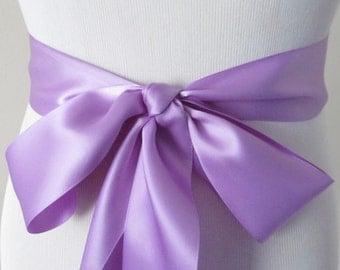 Hyacinth Ribbon Sash / Double Faced Ribbon Sash / Bridal Sash / Bridal Ribbon / Hyacinth