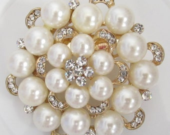 Pearl and Rhinestone Brooch / Bridal Brooch / Pearl and Crystal Brooch Component / SQB-4
