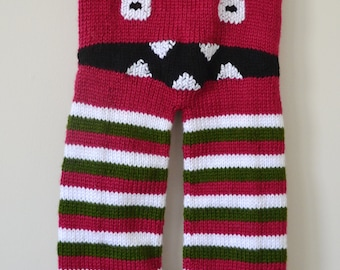 Hand Knit Monster Booty Pants - 9 - 12 Months - Raspberry, Olive and White - Ready To Ship